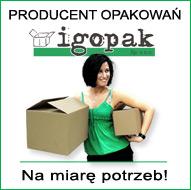 Logotyp producenta opakowań kartonowych i dziewczyna z pudełkami w ręku